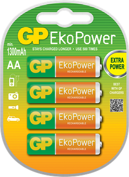GP EkoPower NiMH 1300mAh R6 4-Pack