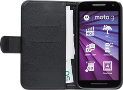 iZound Leather Wallet Case Motorola Moto G (3rd gen) Black