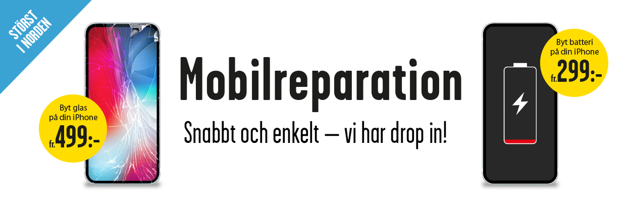Mobilreparation iPhone, nu störst i Norden - Vi lagar din iPhone - byt batteri fr 299kr & byt sprucken skärm fr. 499kr - vi har drop in