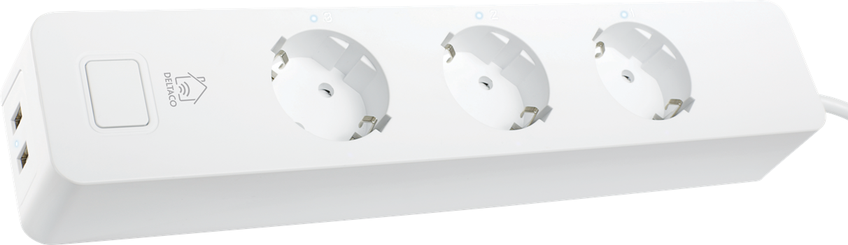 Deltaco 3-Way Power Outlet (x2 USB)