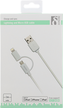 Deltaco Lightning and Micro USB Cable 1 m