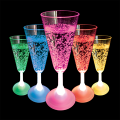 Flashing LED Champagne Glass
