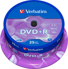 Verbatim DVD+R 25-pack (CakeBox)