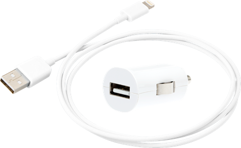 iZound Lightning Car USB Charger 2,4 A White