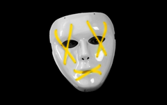 Led mask statue yellow