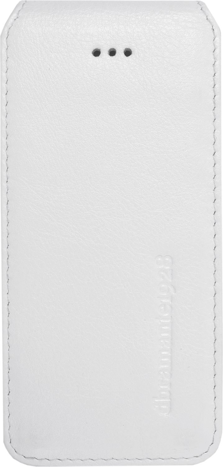 Läs mer om D.Bramante Leather Flip Up iPhone 5 Smooth White