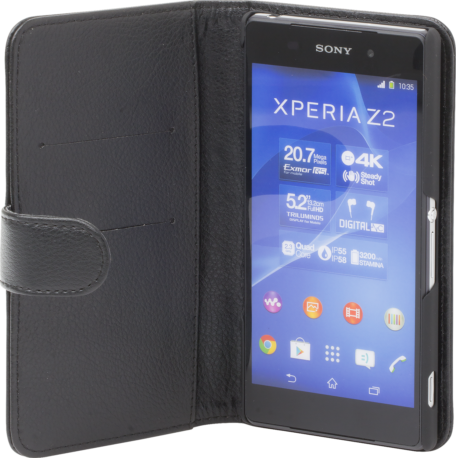 iZound Leather Wallet Case Sony Xperia Z2 Black