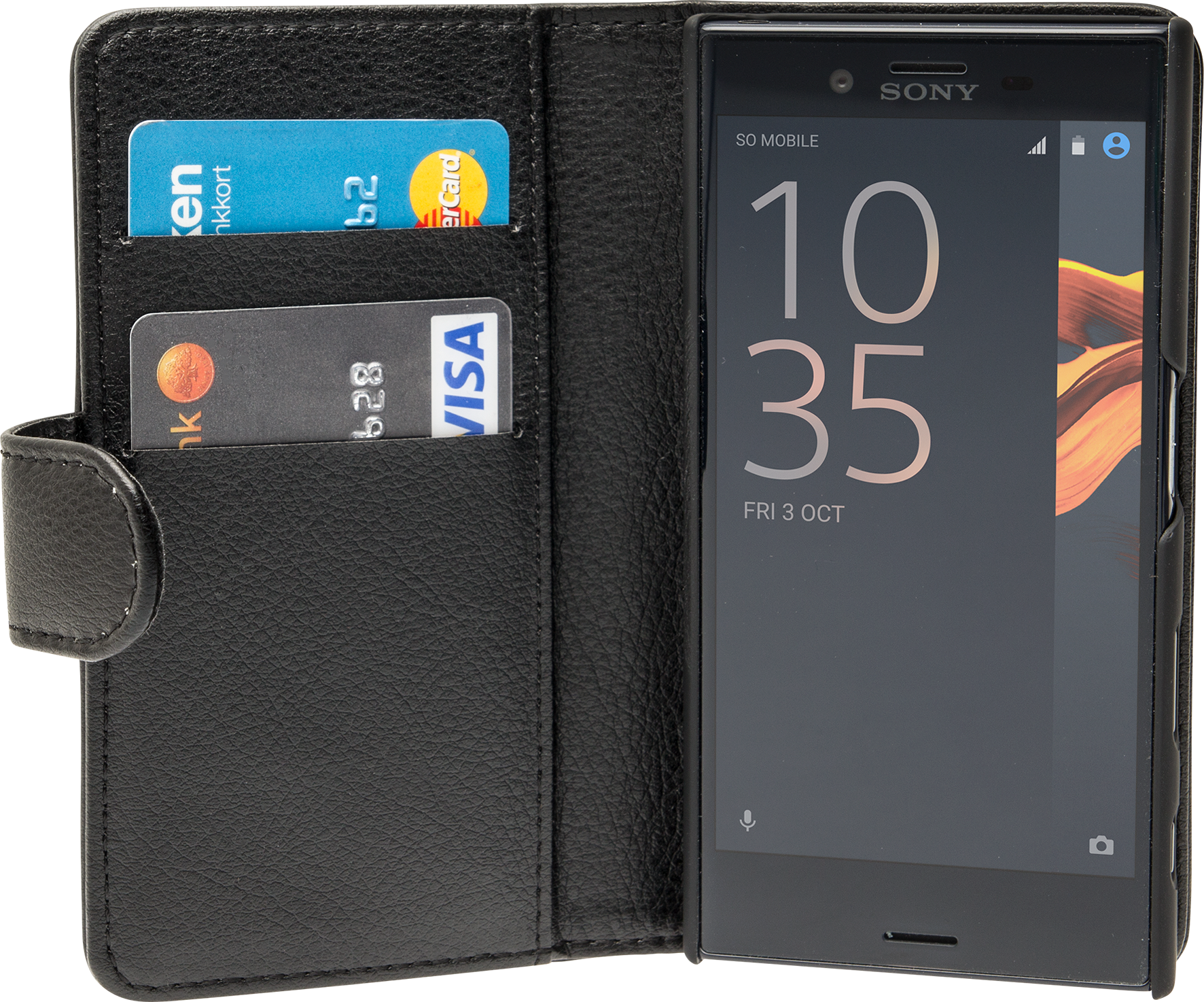 Läs mer om iZound Leather Wallet Case Sony Xperia X Compact Black