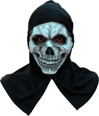 FROGLORD Maskeradmask Skull White with Hood